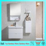 Governo di ceramica fissato al muro bianco pieno di vanità della stanza da bagno del controsoffitto