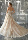2017 A - linha vestidos de casamento nupciais mm001 da flor do laço