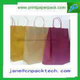 習慣によって印刷されるショッピング・バッグのクラフト紙のギフト袋の紙袋