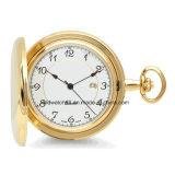 Reloj Pocket grabado venta caliente del cuarzo del oro con el encadenamiento