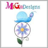 Estaca bonito do metal da Mão-Impressão da estaca do jardim do moinho de vento da joaninha