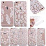 Los accesorios de la caja del teléfono celular borran el caso transparente de la impresión TPU de la flor para el iPhone 7 más 6 más