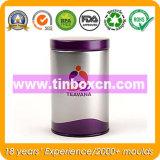 Contenitore rotondo di latta del tè, carrello di tè del metallo, contenitore di stagno del tè