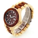 Relógio de madeira da sandália feita sob encomenda da cor da mistura do logotipo