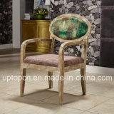 Presidenza di legno del ristorante del caffè con lo schienale di ellisse e la tappezzeria verde smeraldo del tessuto (SP-EC865)