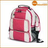 Sac à dos rose de course d'école de sacs d'épaules de couleur de double de couche intercalaire de fille