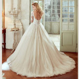 Robe de mariage Backless nuptiale de Tulle de lacet de robes de bille de chemises Tb189