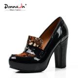 (Donna-в) ботинки высокой пятки женщин Horsehair икры патента кожаный сопрягая