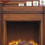 Mensola del camino elettrica del camino di stile europeo con il blocco per grafici di legno solido (GSP15-002)
