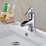 Faucet de bronze do banheiro do revestimento do cromo do único punho de Flg