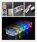 Nuovo marchio su ordinazione 8GB Pendrive del USB 3D dell'indicatore luminoso bianco dell'azionamento del USB di vetro di elettronica