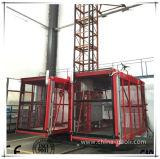 Elevador dobro da construção da gaiola de Gaoli Sc100/100 com cremalheira e pinhão