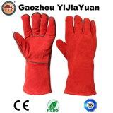 Gants industriels de soudeuses de peau de vache de sûreté rouge de cuir fendu avec de l'en 407 de la CE