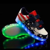 El nuevo USB que brilla intensamente LED colorido que contellea de los deportes al aire libre TPR de la tendencia 2016 único enciende para arriba los zapatos