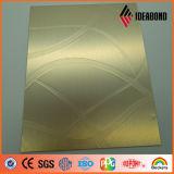 El panel de aluminio compuesto metálico del oro de la luz de la onda de la cinta de 2016 series del tacto