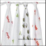 Le coton en gros promotionnel de mousseline de bébé Swaddle couvrant fabriqué en Chine