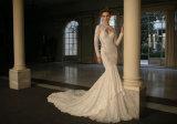 Langes Hülsen-Brautkleid-Spitze-Nixe-Hochzeits-Kleid B16322