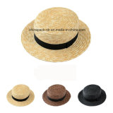 Frumento-Straw Hats di Canotier del Chapeau con Black Hats (CPA_80047)