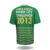 カスタマイズされた緑ポリエステル昇華印刷のTシャツのポロ