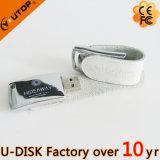 USB elegante do couro do preto do logotipo do Silkscreen (YT-5116L1)
