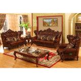 Sofà di cuoio di legno per la mobilia del salone (531)