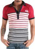 T-shirt fait sur commande de polo d'hommes de coton de vente en gros de piste de contraste