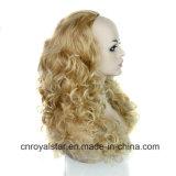 Парик волос 3/4 способа пушистое длиннее курчавое золотистое половинный головной
