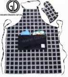 Tablier blanc d'impression de noir fait sur commande de coton pour la promotion ou le cadeau