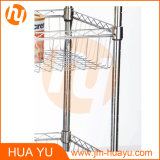 Two Baskets와 Wooden Workbench를 가진 크롬 3 Tiers Adjustable Wire Shelving Cart