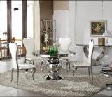 椅子を食事する贅沢な最高背部ボタンファブリック金属