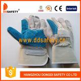 Guanto di funzionamento Dlc328 di sicurezza del cuoio blu di rinforzo doppia palma