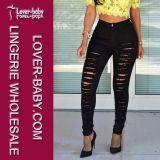 Jeans d'avanguardia del denim di modo del nero della ragazza (L455-2)