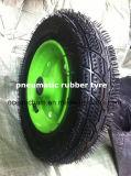 Roda de borracha pneumática do pneumático 3.00-8 do carro do Wheelbarrow e da ferramenta