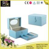 Venda quente azul caixa de empacotamento espelhada da jóia de couro feita sob encomenda quadrada