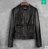 新しいデザイン女性の本革のジャケット