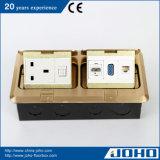 IP44 Waterproof as caixas do assoalho e a tomada levantadas bronze Cat5e HDMI do soquete 13A da mesa