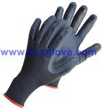 doublure du nylon 15gauge/Spandex, enduit de nitriles, Micro-Mousse, points sur des gants de sûreté de paume