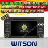 Android 5.1 Witson для автомобиля DVD блока Порше Кайен 2006-2010 головного с поддержкой интернета DVR ROM WiFi 3G набора микросхем 1080P 16g (A5546)