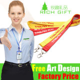 Metal Hook를 가진 승진 Gift Custom Polyester Ribbon Lanyard
