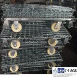 모자와 바퀴를 가진 창고 저장을%s 철강선 메시 깔판 콘테이너