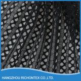 Tela química do bordado do laço, tela preta