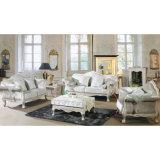 Sofà di cuoio con il blocco per grafici del sofà e la Tabella di legno del lato (D987A)