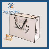 Schwarzes Boarder Matt White Paper Bag mit Logo Print (CMG-MAY-034)