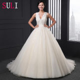 Custom Made A-Line V-Neck Tulle Beaded Alibaba Wedding Dress (SL007)