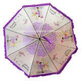 Gerades Ladys Fashion Auto Open Poe Transparent Umbrella mit Frill