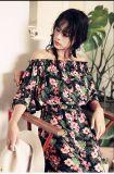 Russland-Art-kleiden lange Hülsen-Abend-Kleider herrliches langes Kleid für Damen