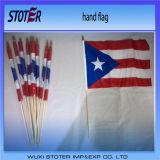 Флаг дешевого изготовленный на заказ печатание ручной с деревянной ручкой