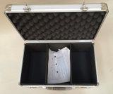 Cassa di attrezzo di alluminio con la superficie di alluminio d'argento dello strato e gomma piuma nera all'interno di Tdr-12