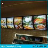 스냅 열려있는 알루미늄 LED 메뉴 널 가벼운 상자를 광고하는 간이 식품 대중음식점