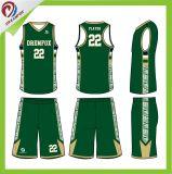 カスタマイズされた昇華させた最新のバスケットボールのジャージーデザイン卸売